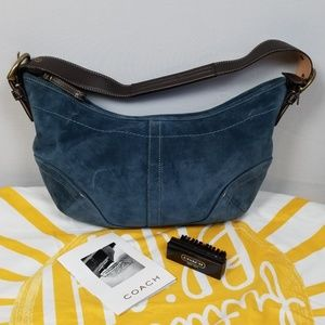 Coach Blue Suede HoBo bag with Brush